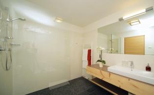 Spacious bathroom with shower in the family luxury suite