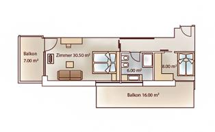 Room layout of the family luxury suite