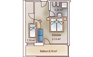 Room layout of the family luxury room