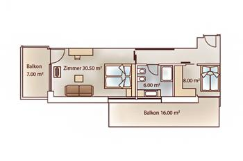 Floor plan of the luxury suite familar at Vital-Hotel Rainer