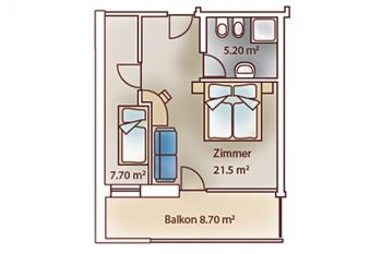 Floor plan of the luxury room familar at Vital-Hotel Rainer