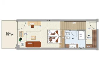 Floor plan of the comfort rooms at Vital-Hotel Rainer