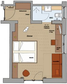 Layout of a standard room at Vital-Hotel Rainer