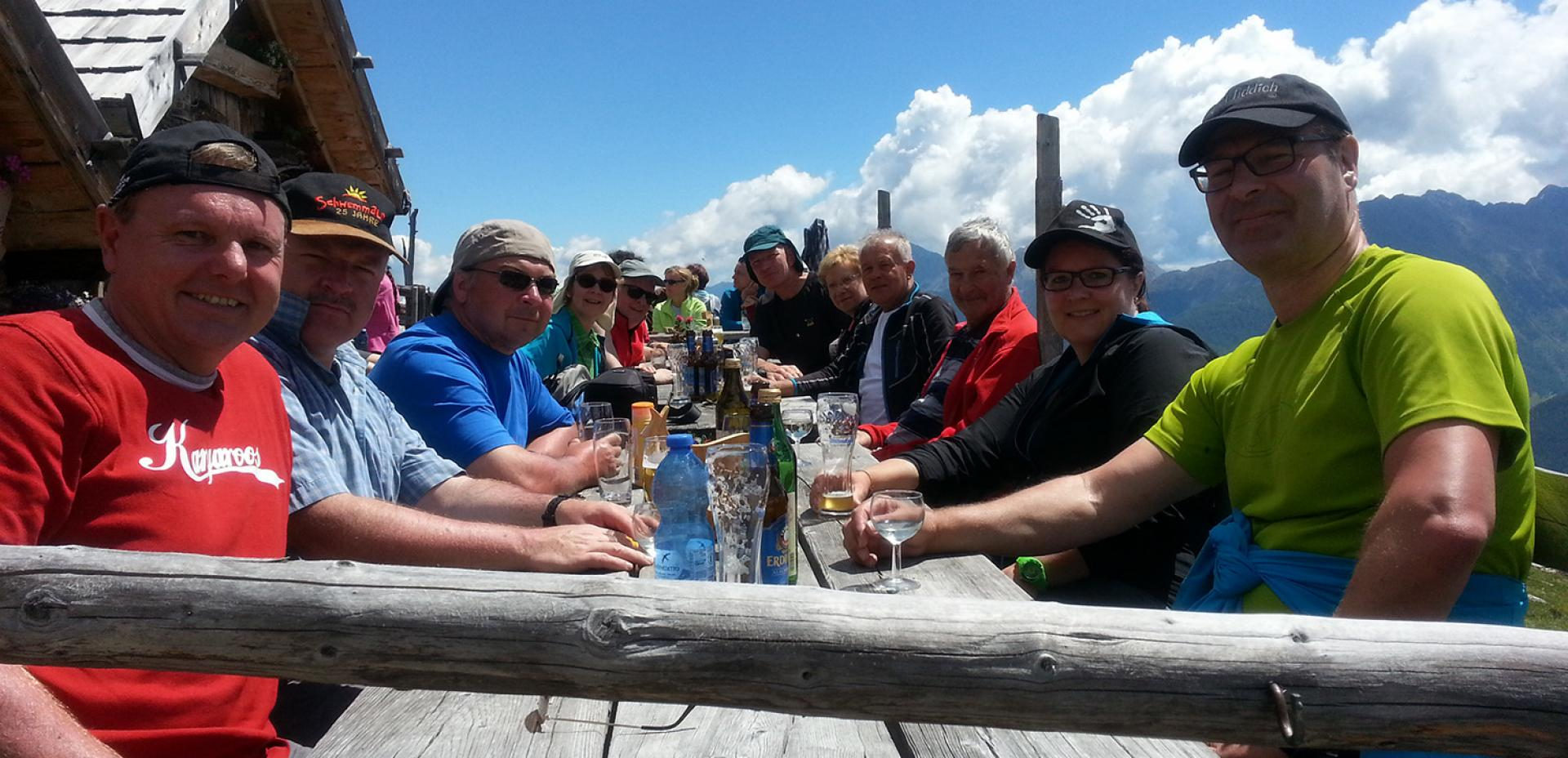 Guest hike with refreshments at a mountain hut