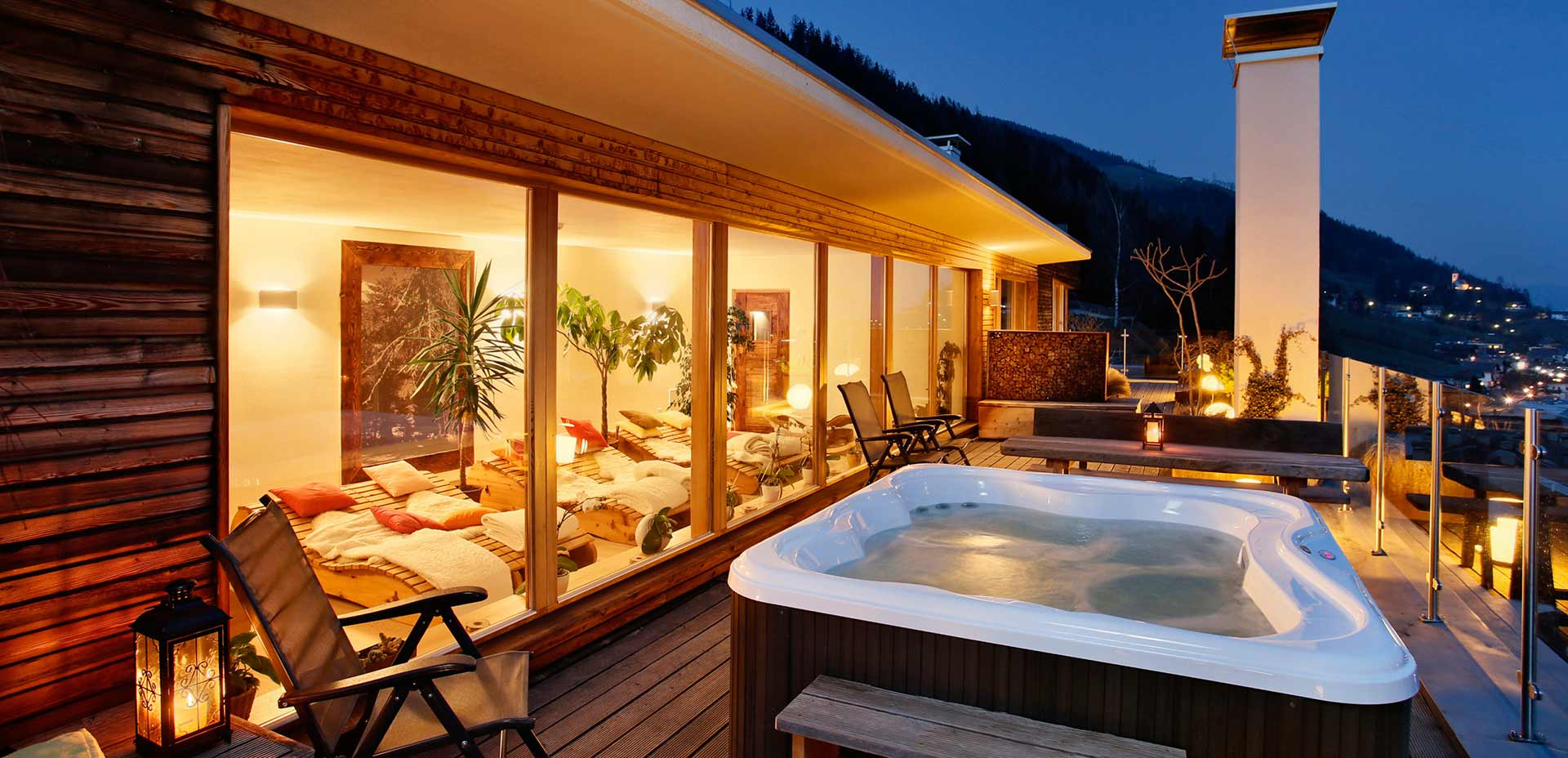 Scenic rooftop terrace with Jacuzzi